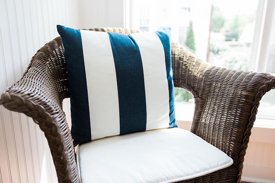 sunroom chairs, pottery barn pillows