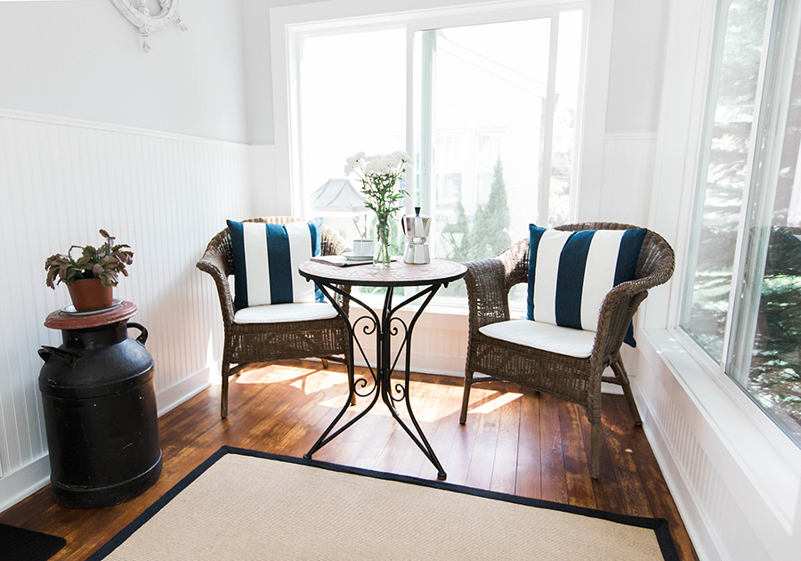 A cheery styled sunroom