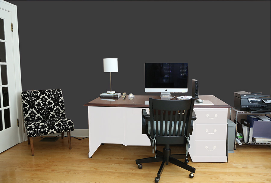 charcoal grey wall home office