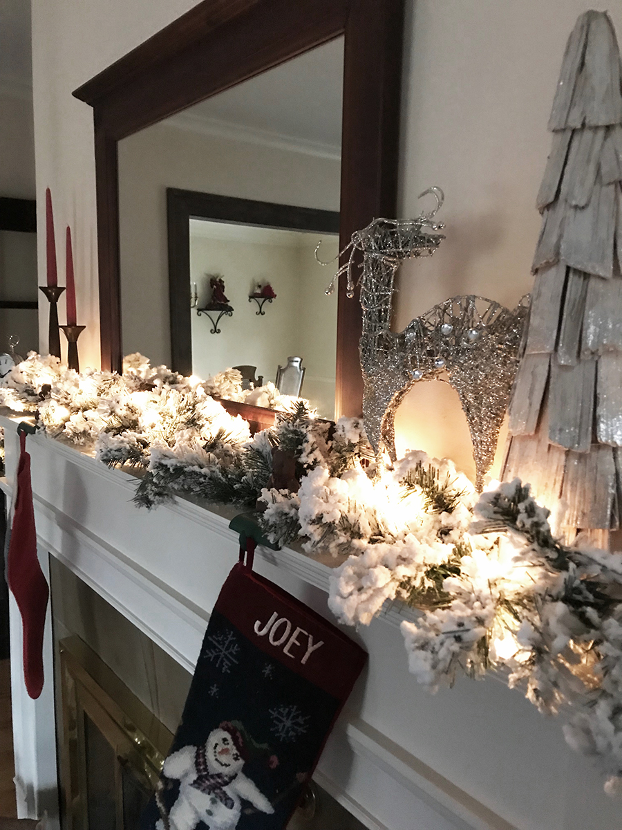 mantle decor, christmas mantle, garland